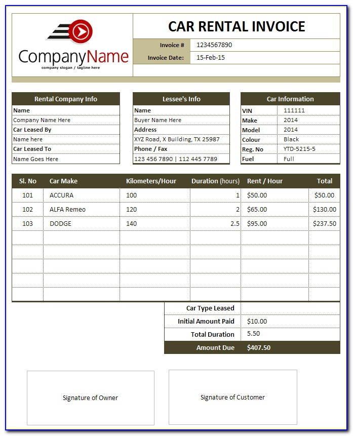 Car Rental Invoice Template Microsoft Word