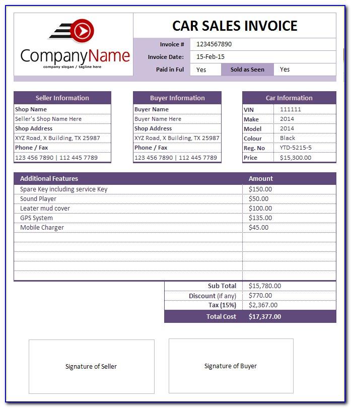 Car Rental Invoice Template Pdf