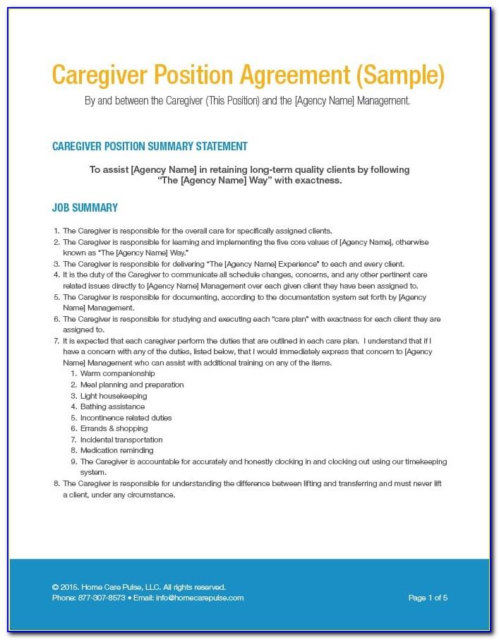 Caregiver Agreement Form