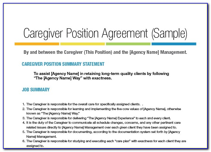 Caregiver Agreement Template