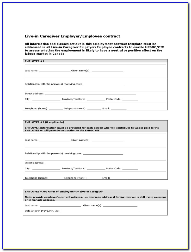 Caregiver Service Agreement Template