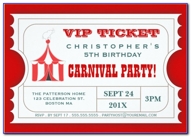 Carnival Ticket Invitation Template Free Download