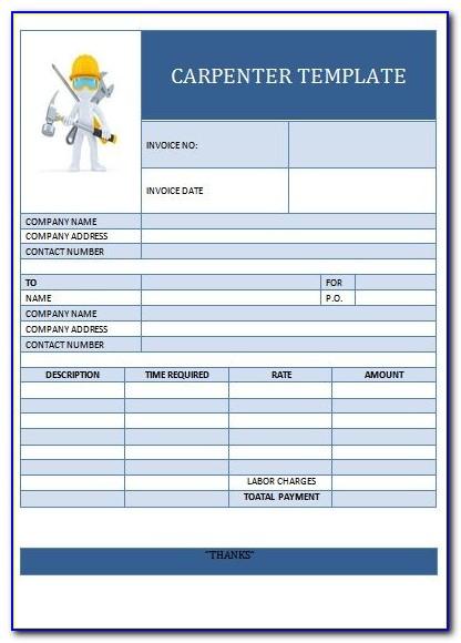 Carpenter Invoice Template Australia