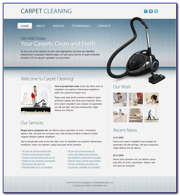 Carpet Cleaning Website Template Free