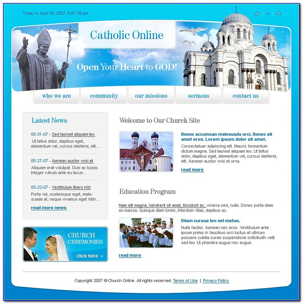 Catholic Church Website Templates Free Download