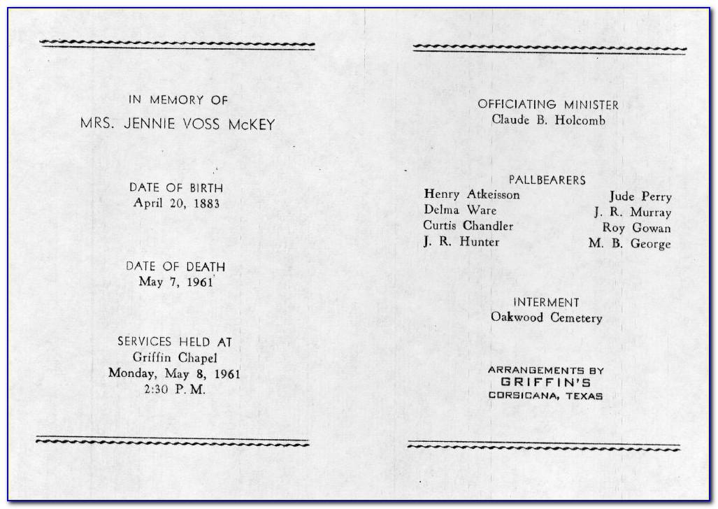 Catholic Funeral Mass Program Sample