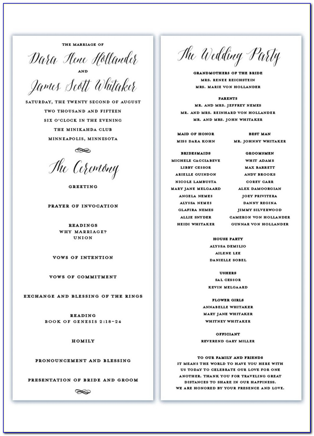 Catholic Wedding Mass Program Sample