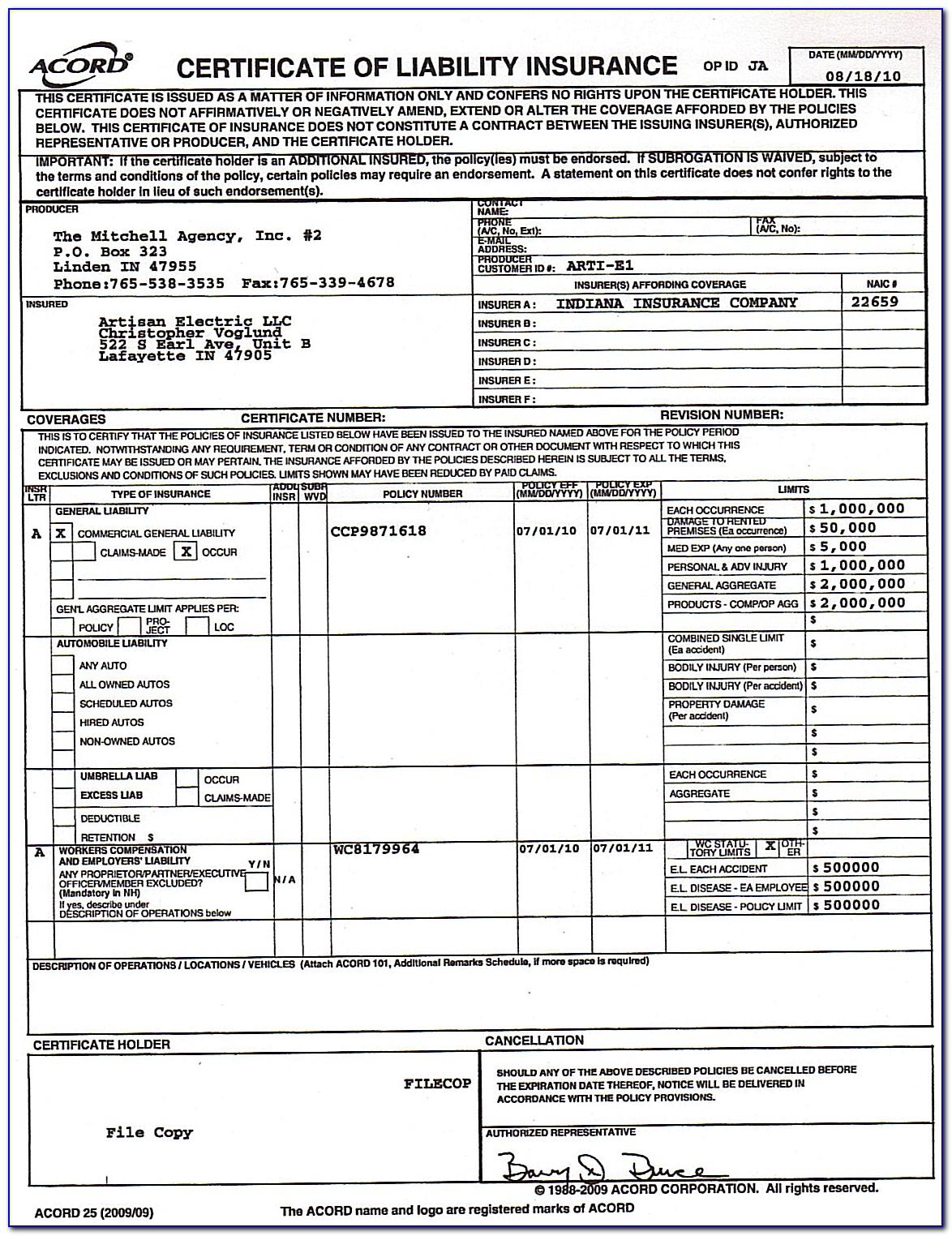 Certificate Of Liability Insurance Form California