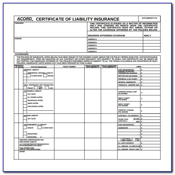 Certificate Of Liability Insurance Template Acord