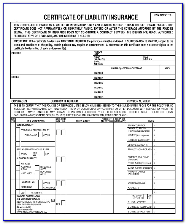 Certificate Of Liability Insurance Template
