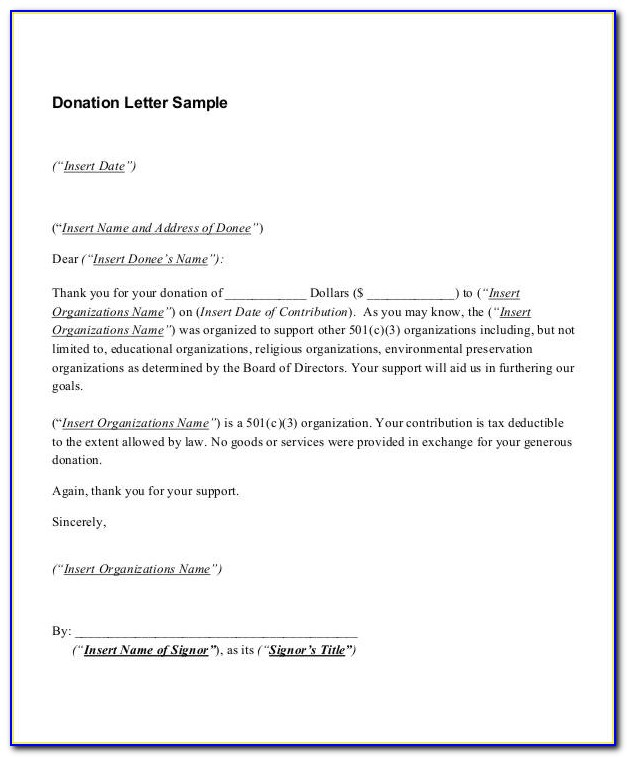 Charity Donation Letter Example