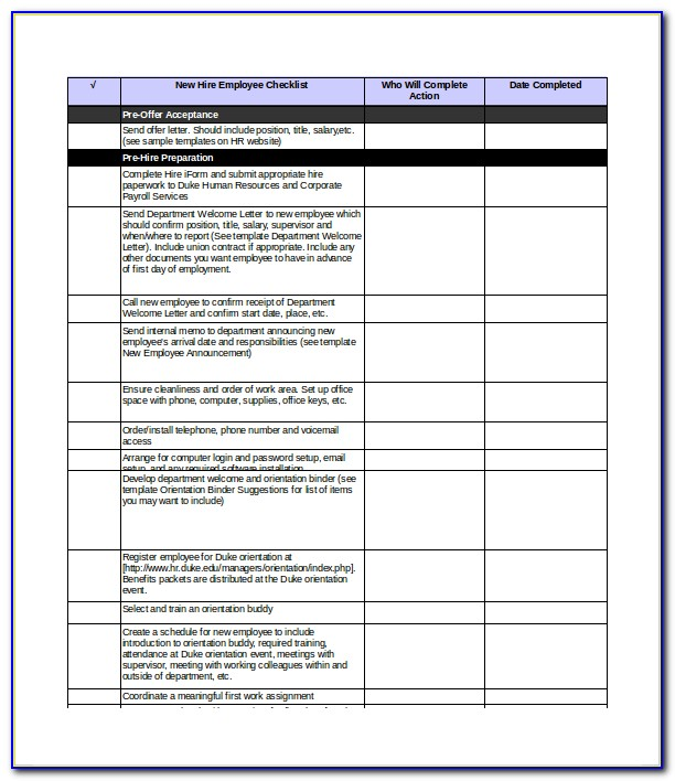 Checklist For Training New Employee