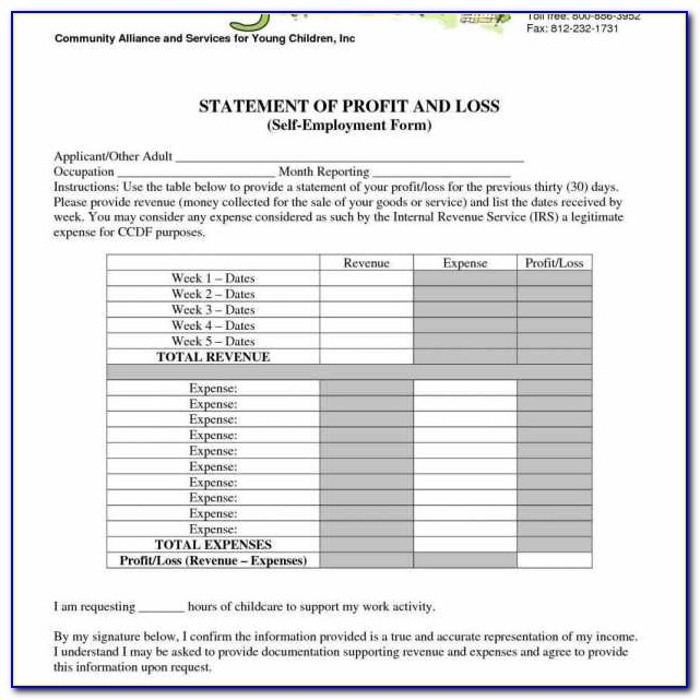 Daycare Profit And Loss Statement Template Church Income Corinside & Daycare Income Statement Template