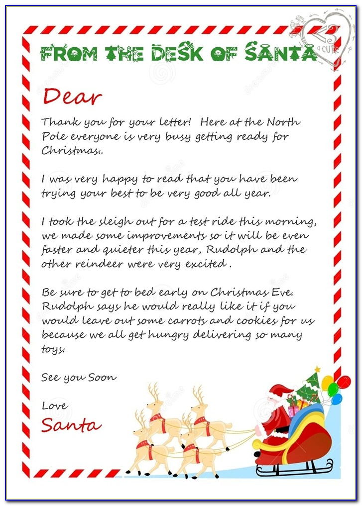 3 Piece Printable Christmas Letter From Santa Love A Cure Letters From Santa Australia Letters From Santa Australia