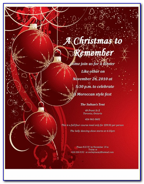 Christmas Dinner Invitation Template Free Printable