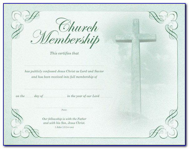 Church Membership Certificate Template Word