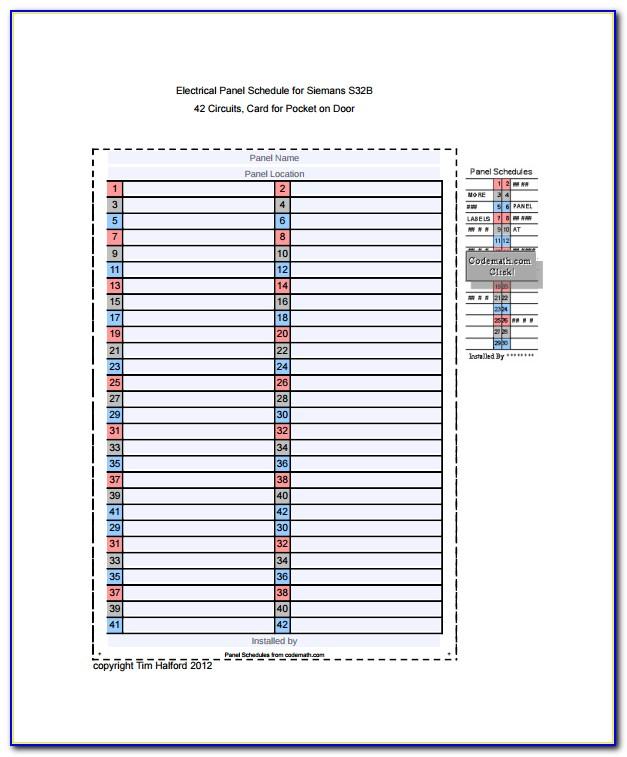 Circuit Breaker Panel Label Template Freeware