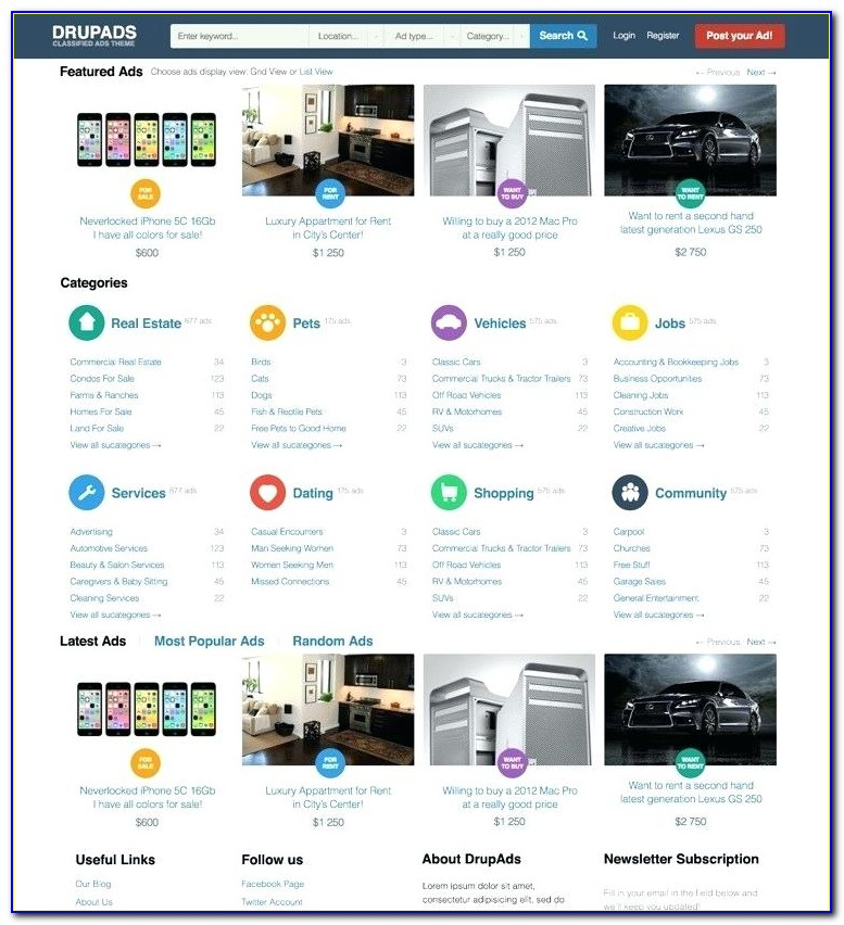 Classified Advertising Website Template