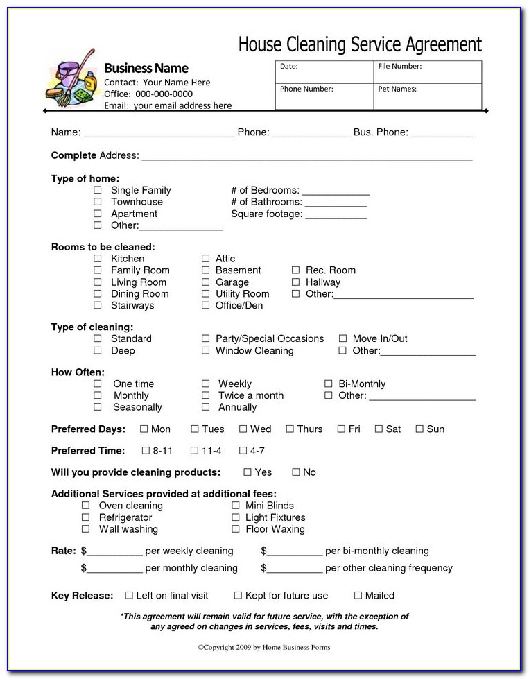 Cleaning Business Contract Sample