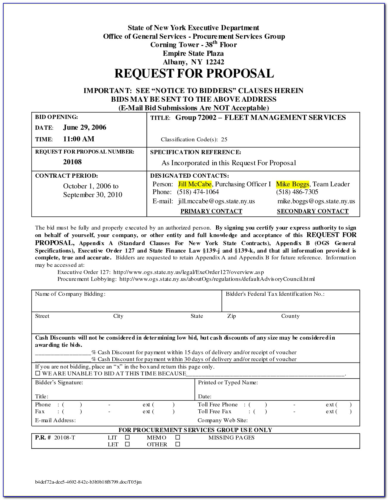 Cleaning Business Proposal Form