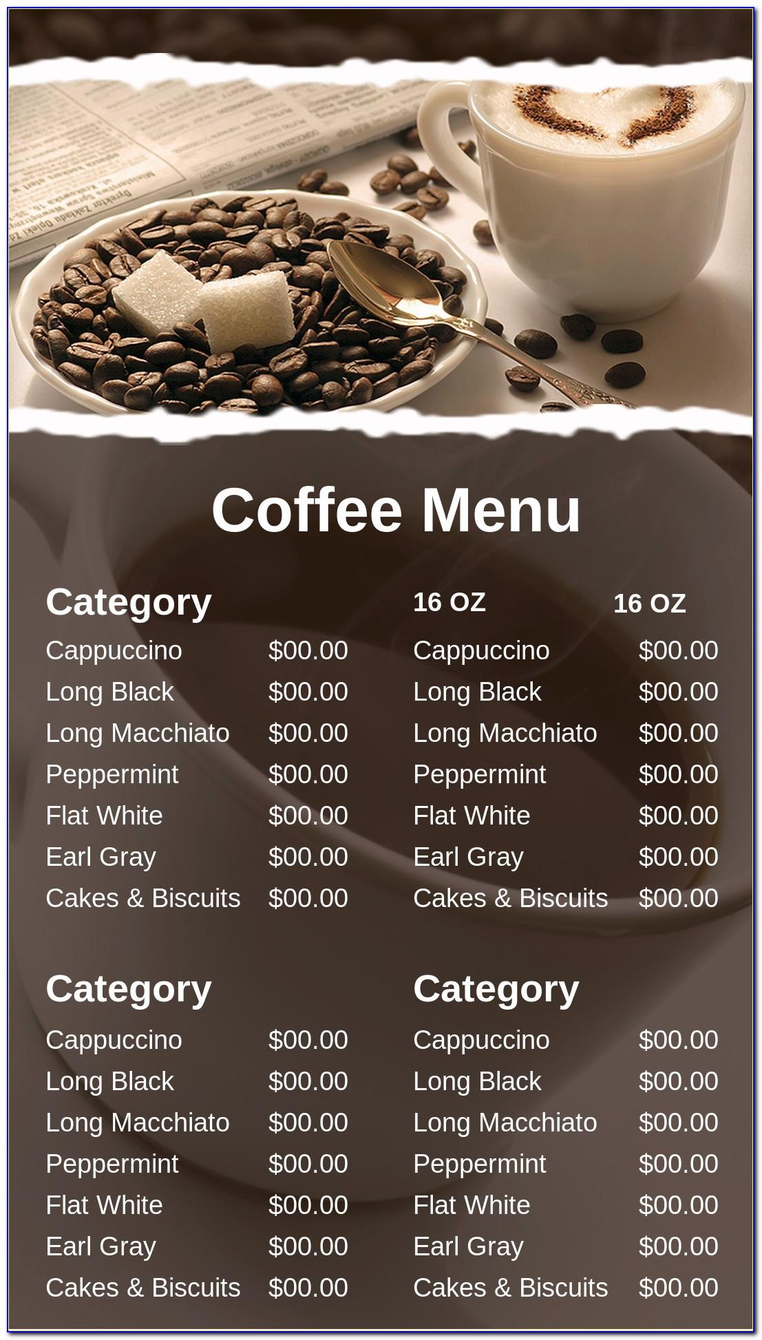 Coffee Shop Menu Template Free Psd