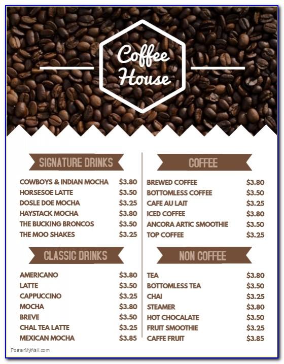 Coffee Shop Menu Templates Free Download