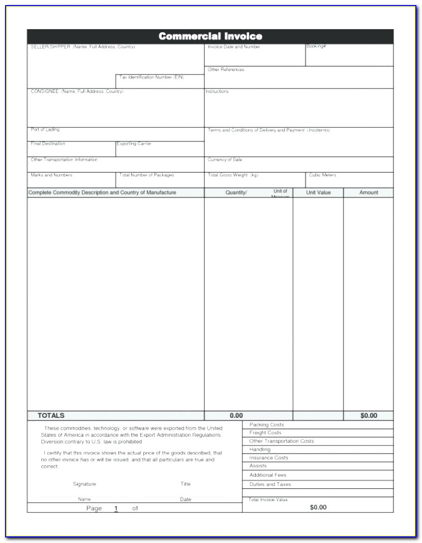 Commercial Invoice Template Canada Customs