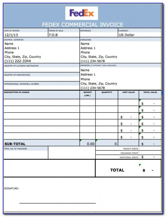 Commercial Invoice Template Uk Dhl