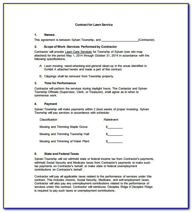 Commercial Lawn Maintenance Contract Template