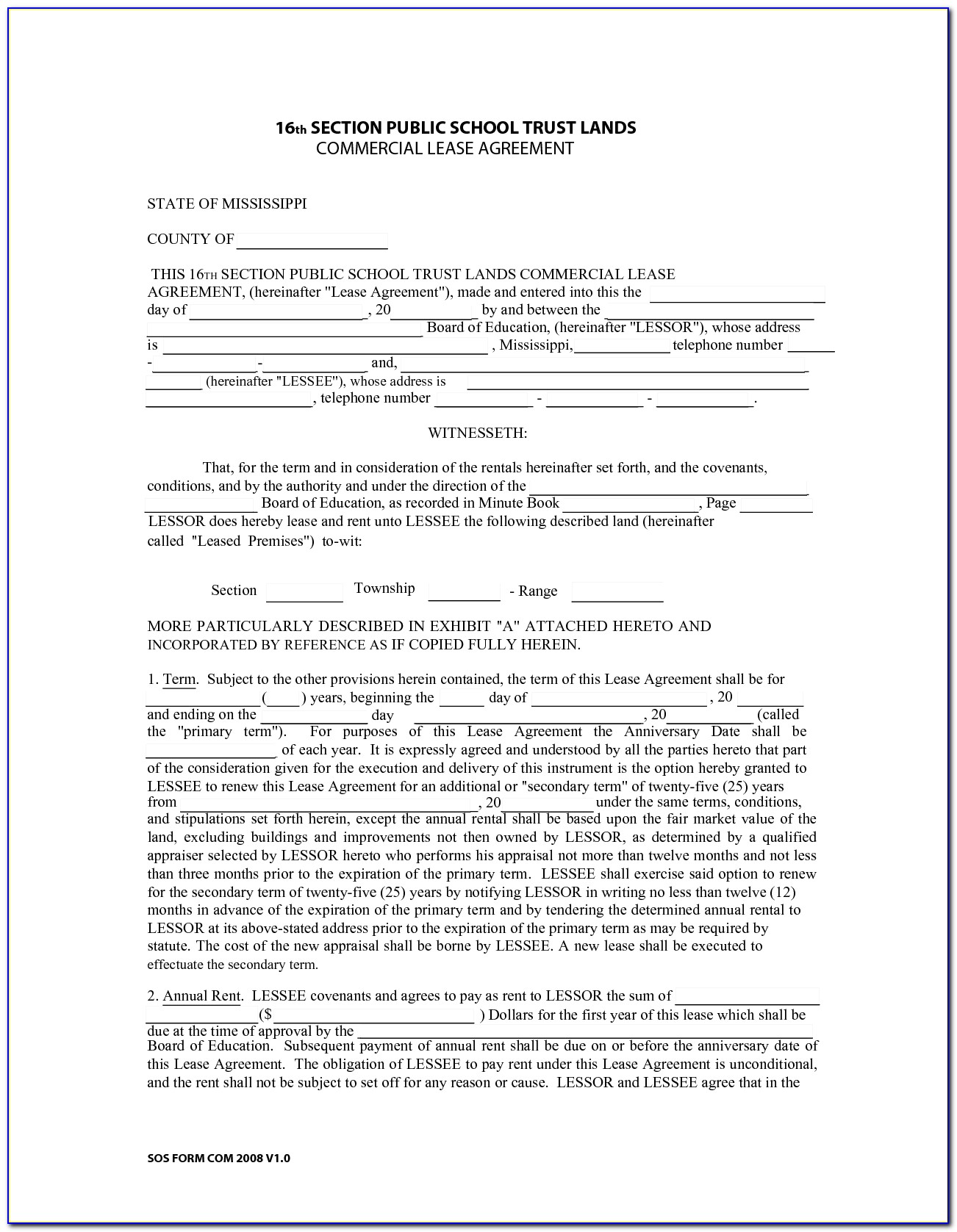 Commercial Lease Agreement Format Pdf