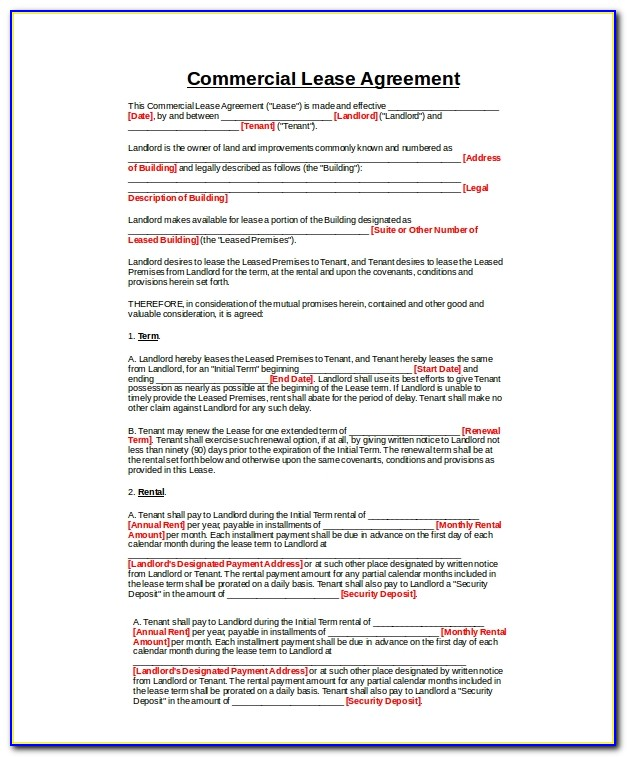 Commercial Property Rental Agreement Template Uk