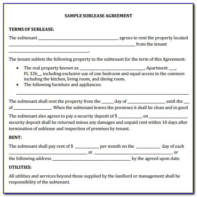 Commercial Sublease Agreements
