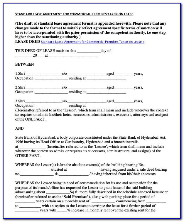 Commercial Sublease Template Free