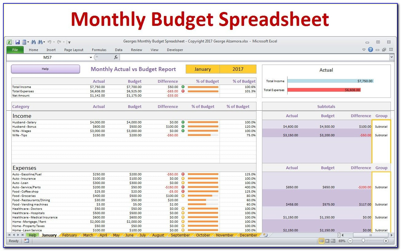Company Monthly Expense Sheet Excel Template