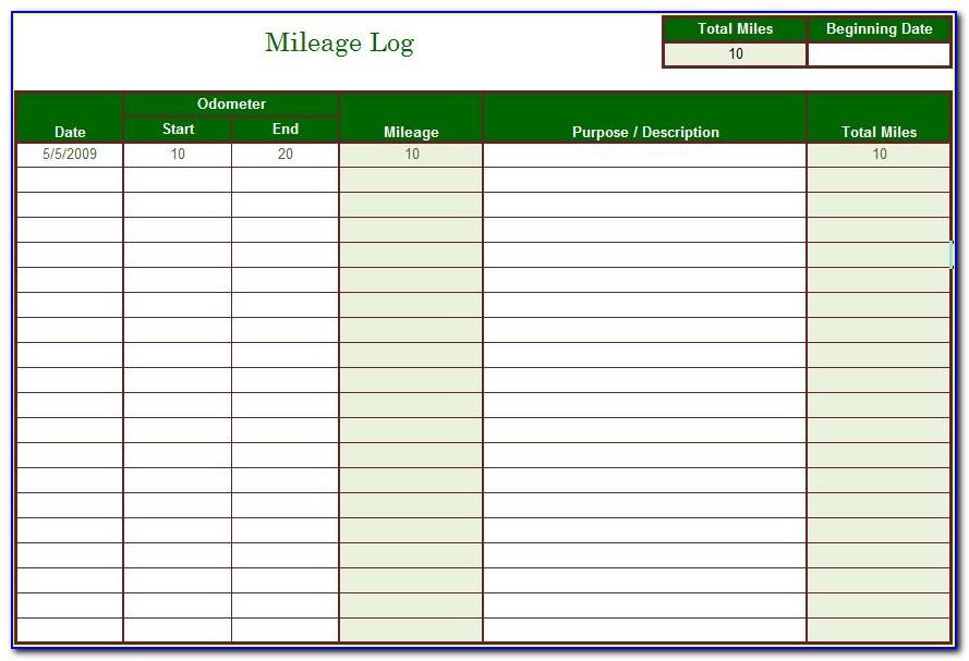 Company Vehicle Mileage Log Template