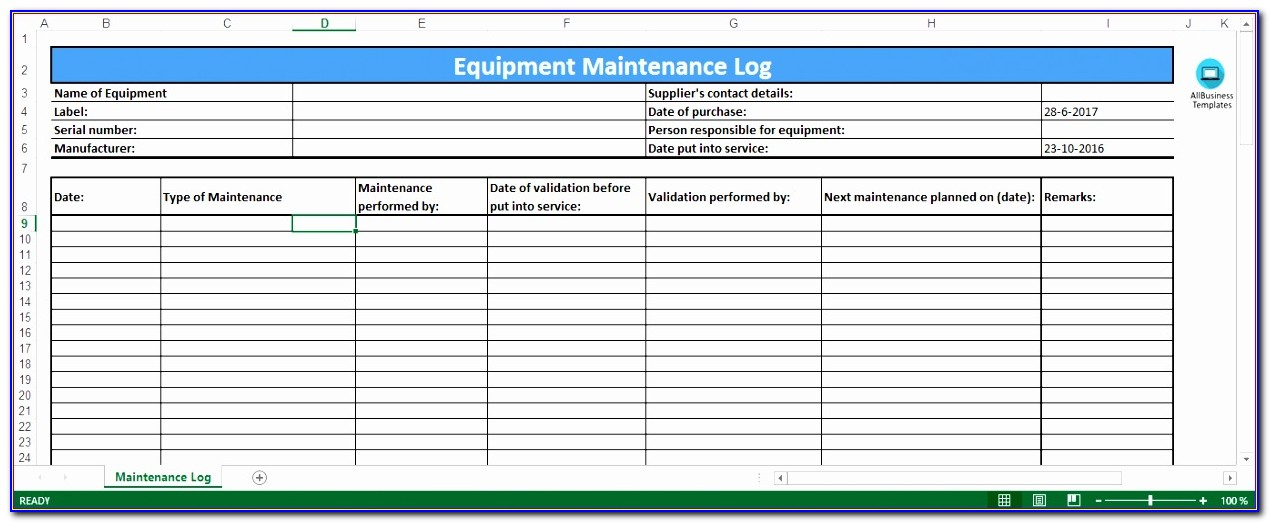 Preventive Maintenance Template Excel Kjlfh Elegant Free Equipment Maintenance Log Excel Template