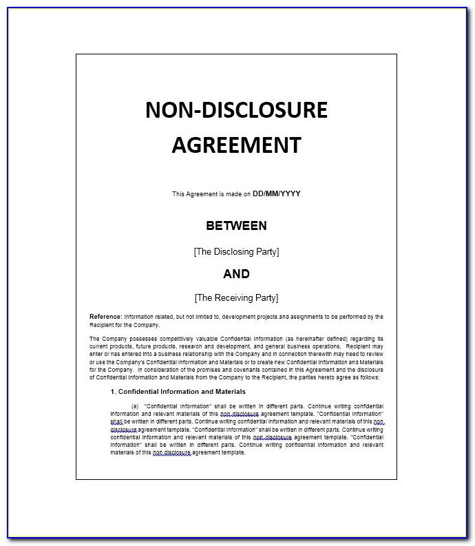 Confidentiality Agreement Template Free Pdf