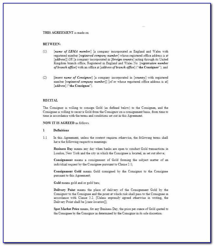 Consignment Stock Agreement Template Australia