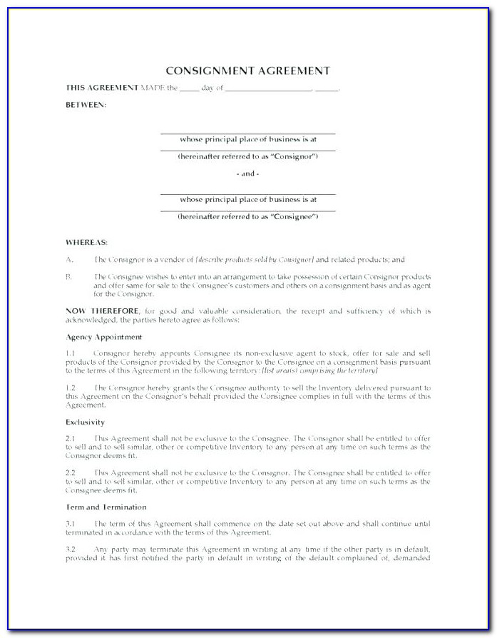 Consignment Stock Agreement Template Free