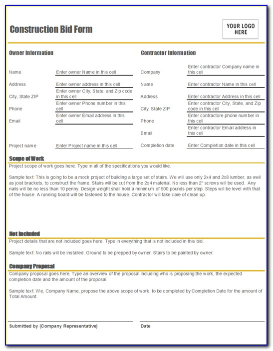 Construction Bid Spreadsheet Template