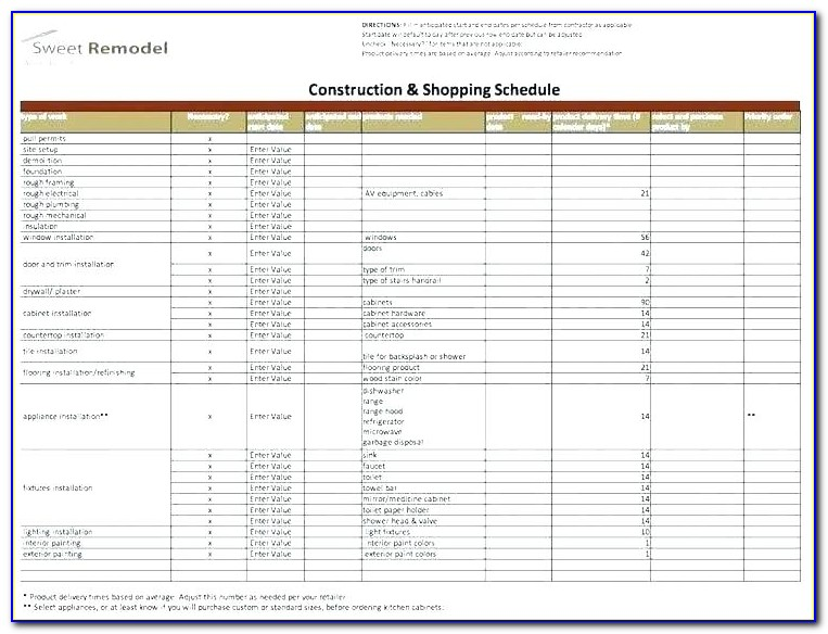 Construction Punch List Example
