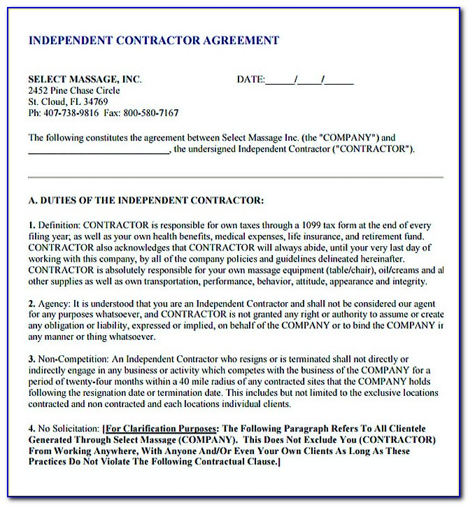 Construction Subcontractor Contract Template