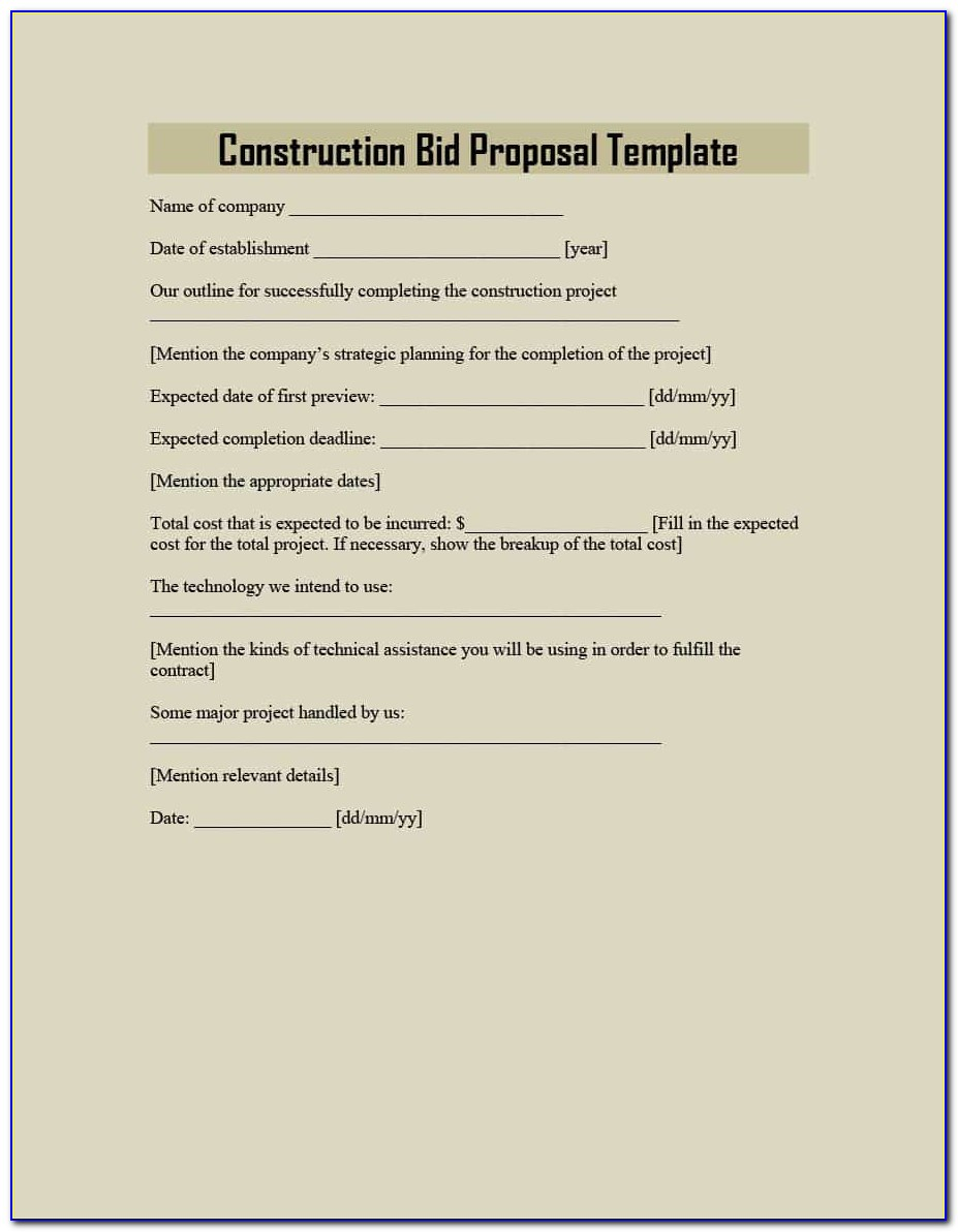 Construction Subcontractor Proposal Template