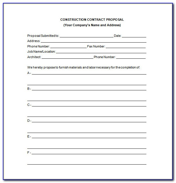 Contract Proposal Template Word