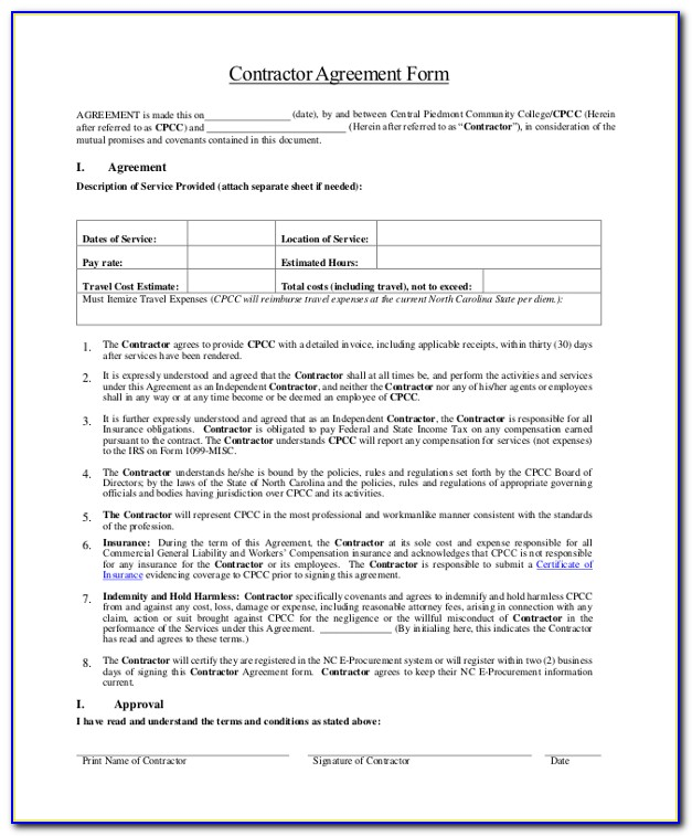 Contract Template For 1099 Employee