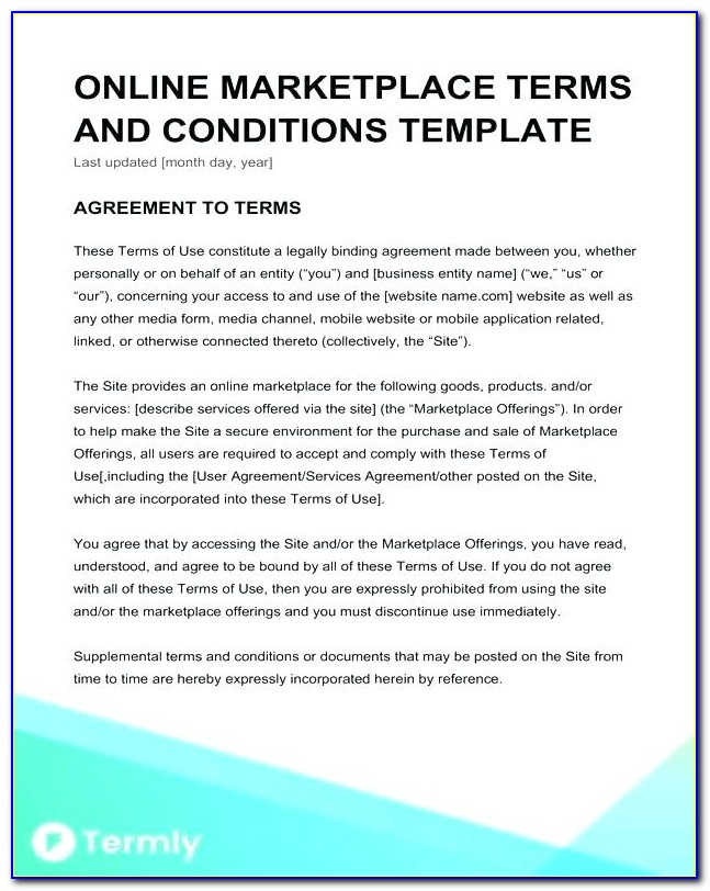 Contracting Terms And Conditions Template