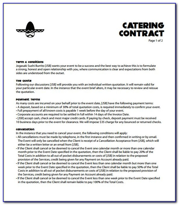 Contracts For Catering Services Templates