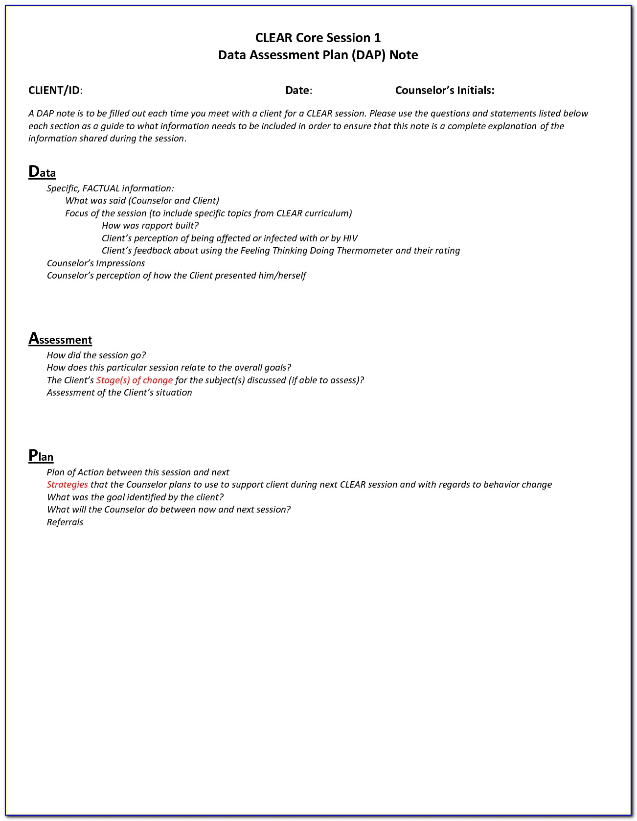 Counseling Case Notes Format