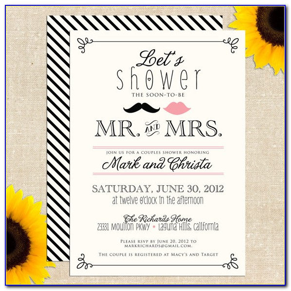 Couples Wedding Shower Invitations Templates
