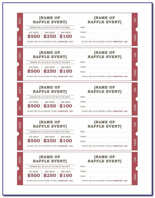 Raffle Tickets Office Templates Regarding Avery Raffle Ticket Template